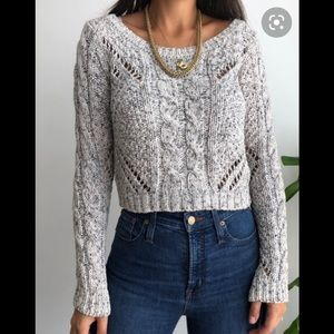 American Eagle Chunky Grey Cable-knit Sweater